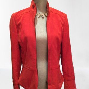 Red suede leather jacket by Dana Buchman